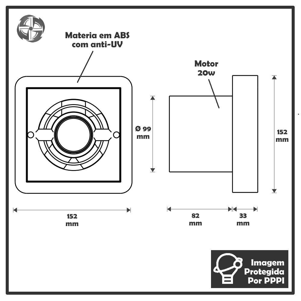 Kit Exaustores Para Banheiro (Ambiente) 120mm DB Ventokit 150 (Indicado para até 8 M²)