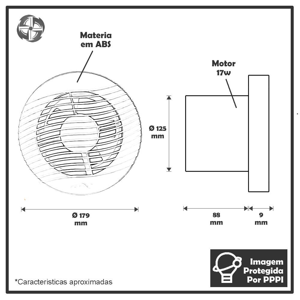 Kit Exaustores Para Banheiro (Ambiente) 125mm Sicflux Arkit 16 (Indicado para até 8 M²)