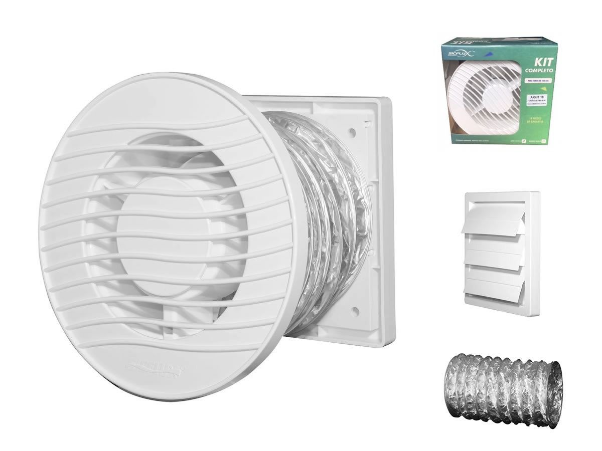 Kit Exaustores Para Banheiro Sicflux Arkit 34 (Indicado para até 15 M²)