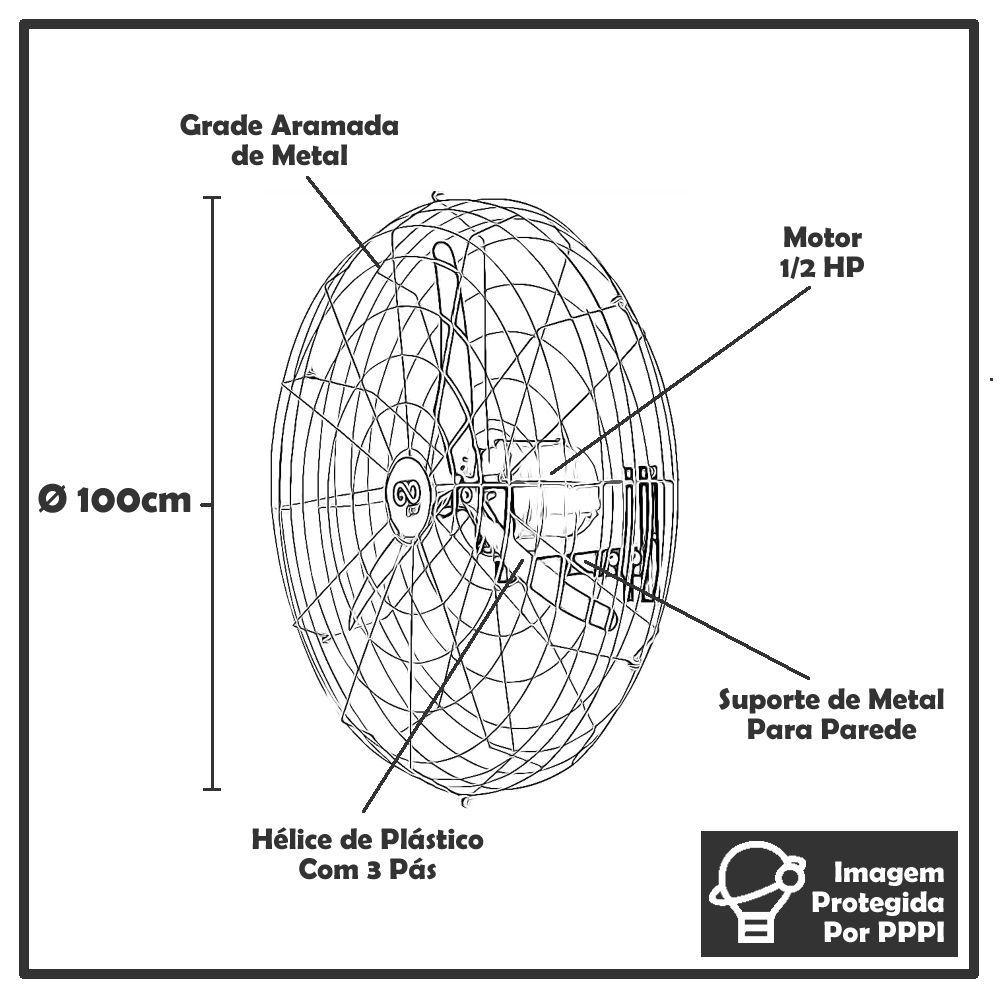 Ventilador de Parede de 1 Metro Goar Alta Vazão Bivolt (Indicado para 100m²)