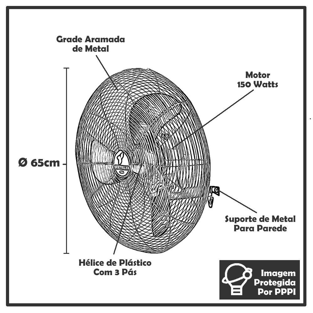 Ventilador de Parede Ventisilva 65cm VPL Potente e Silencioso