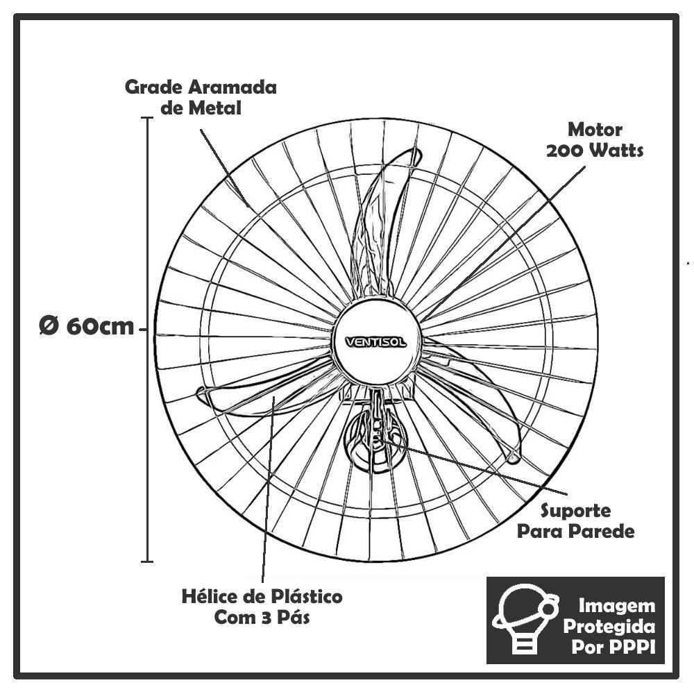 Ventilador de Parede Ventisol 60 Bivolt Premium 200 W Potente