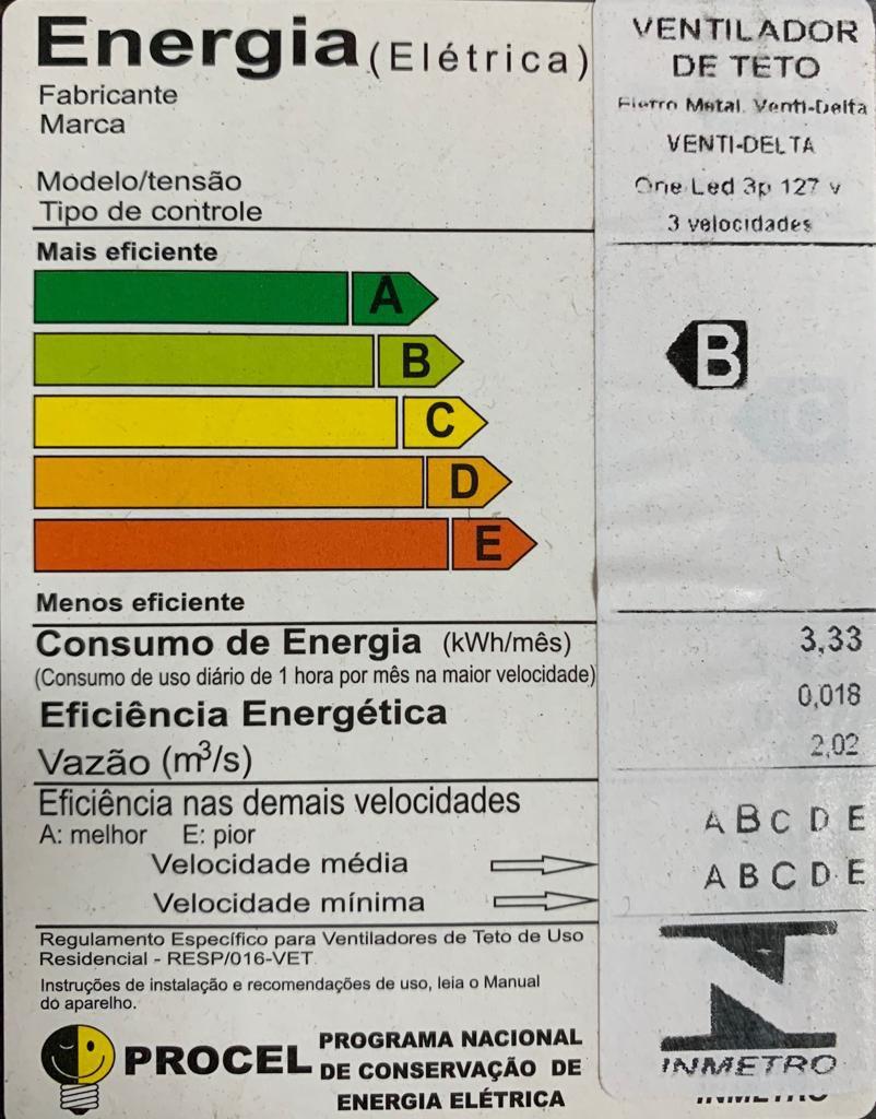 Ventilador de Teto Venti-Delta One Led Branco 3 Pás 127V Potente e Silencioso