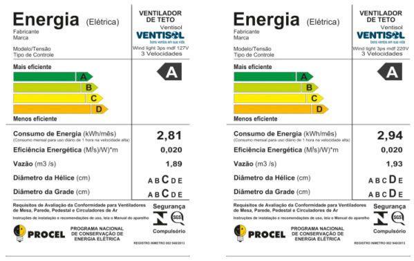 Ventilador de Teto Ventisol Wind Light 3 Pás 127V Silencioso e Potente
