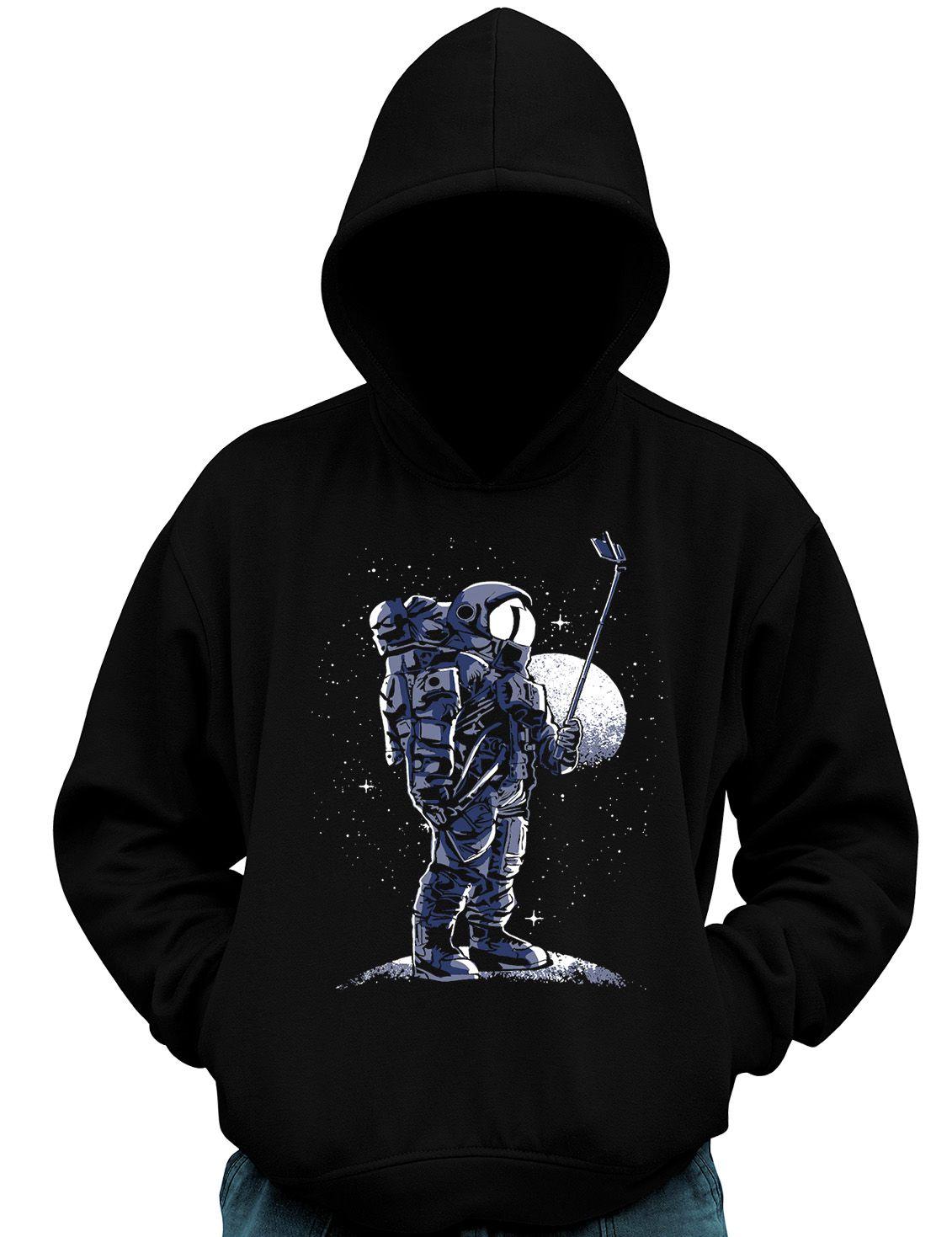 Blusa De Moletom Geek Selfie no espaço Astronauta  - Dragon Store