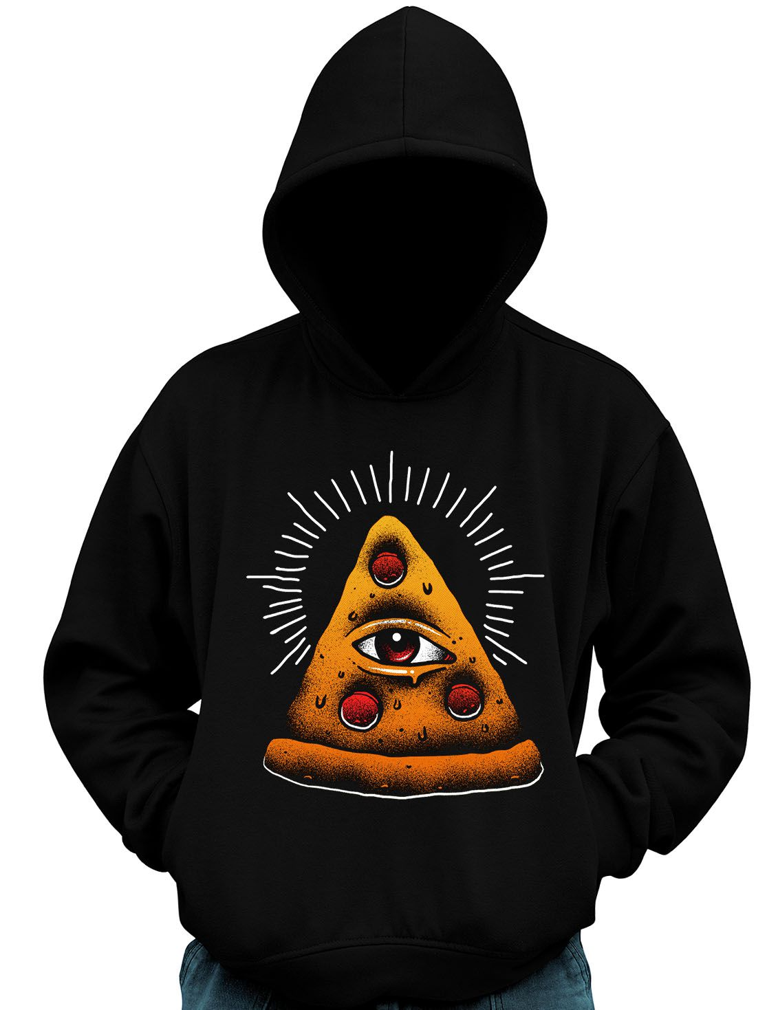 Blusa Moletom Pizza Illuminati Comida Lanche Fast Food Olho  - Dragon Store