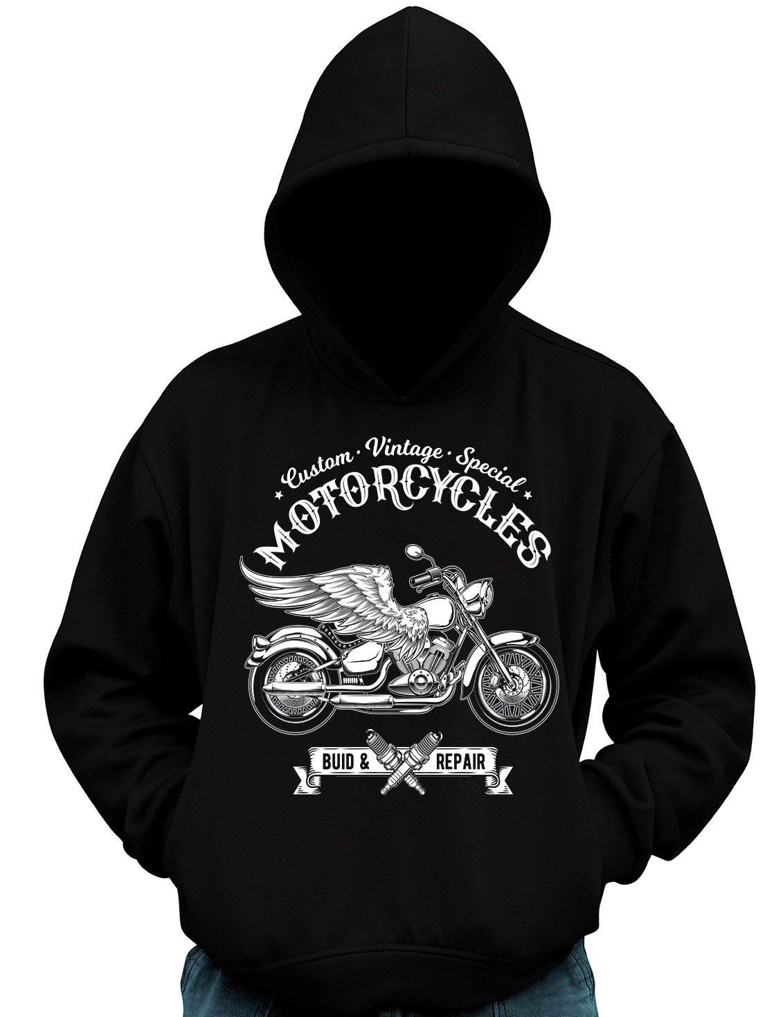 Blusa De Moletom Vintage Moto Asas Motocicleta Motociclista  - Dragon Store