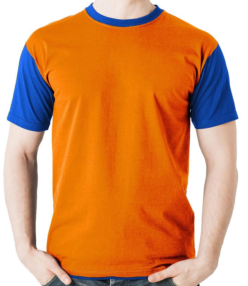 Camiseta raglan básica laranja - 100% algodão penteado 30.1  - Dragon Store
