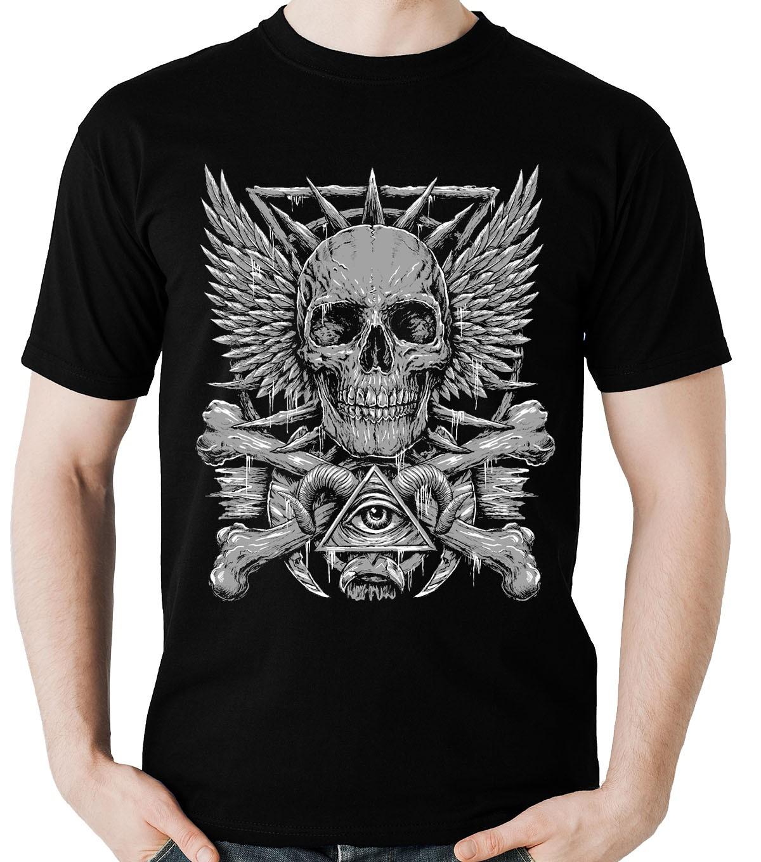 Camiseta Caveira Olho Piramide Penacho Rock Blusa Camisa  - Dragon Store