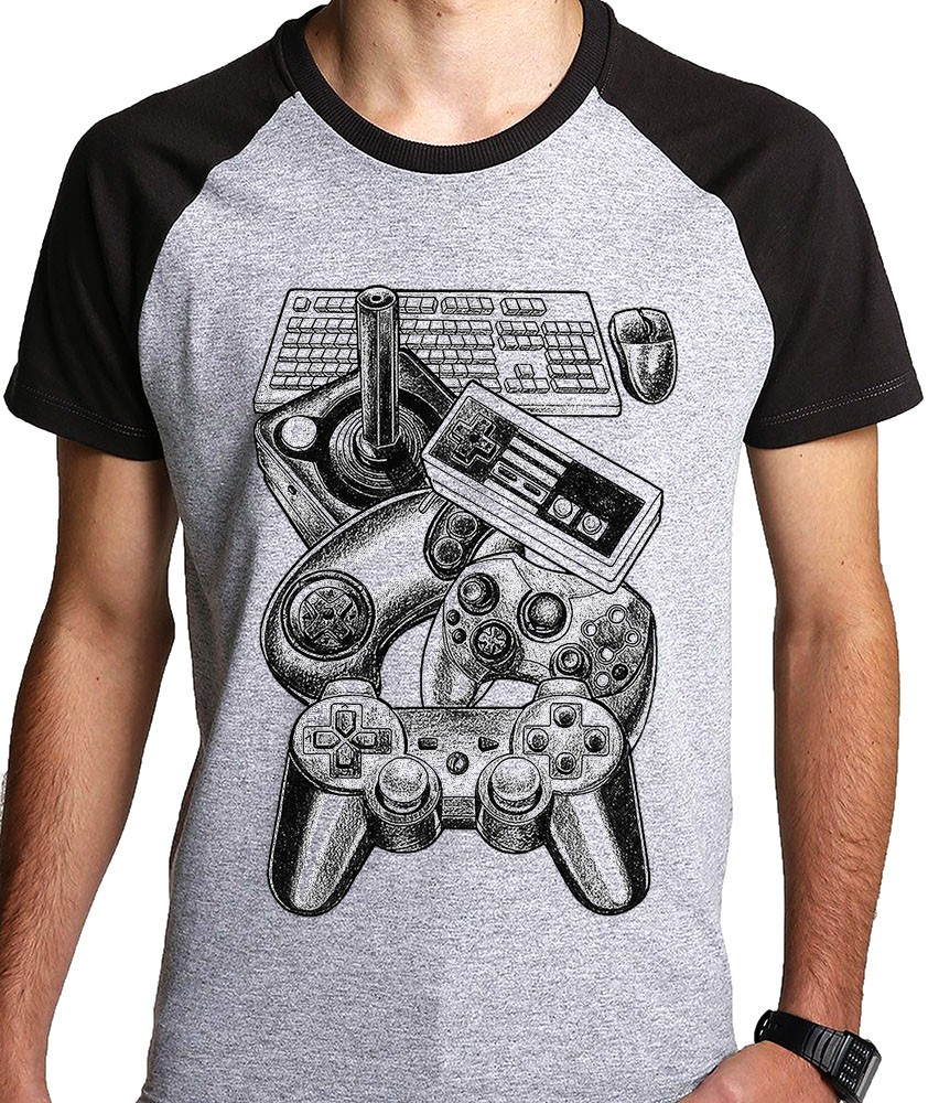 Camiseta controles video game raglan  - Dragon Store
