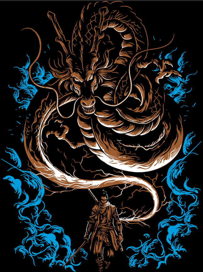 Camiseta Dragão samurai japones RPG - Dragon Store  - Dragon Store