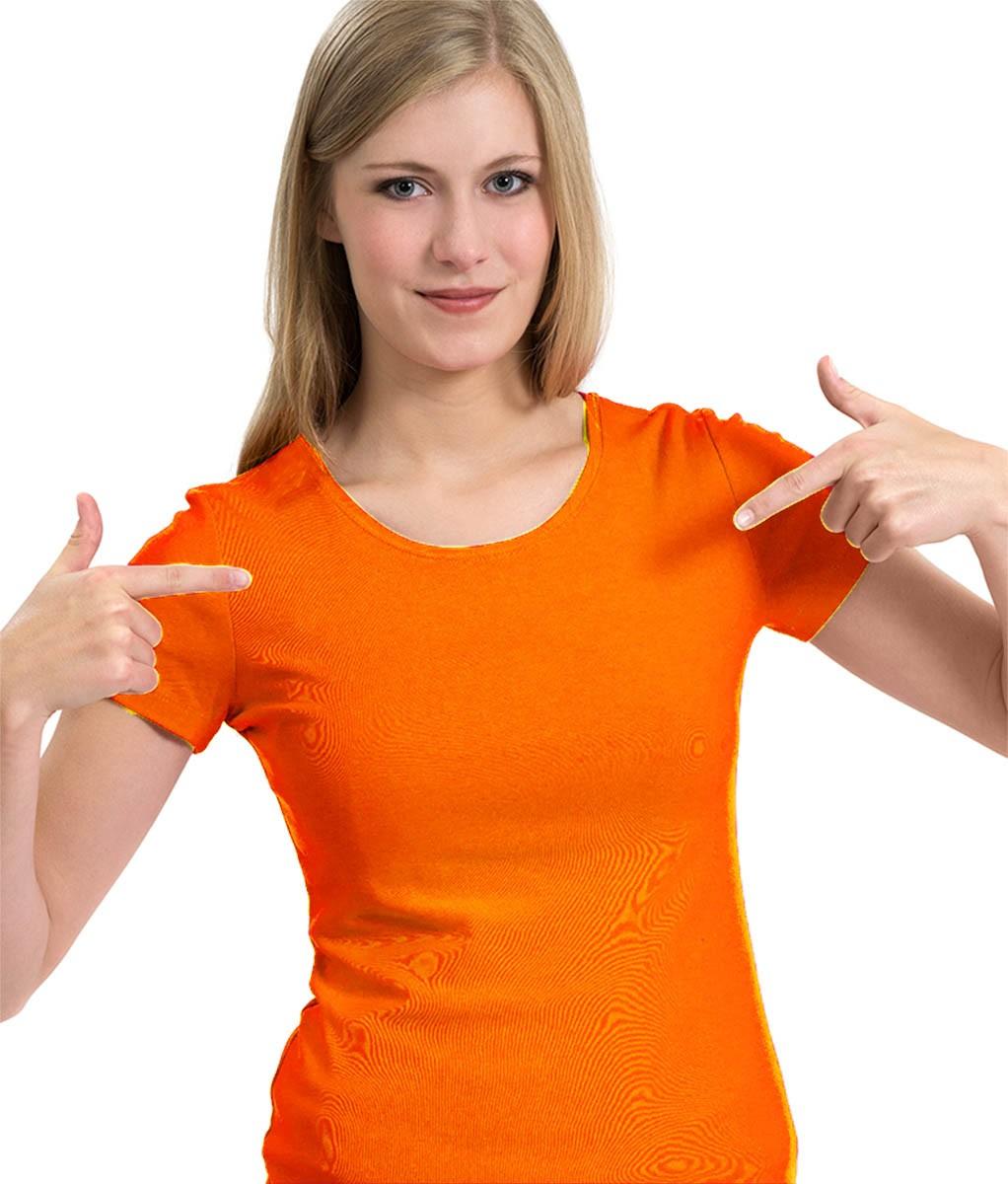 Camiseta Feminina Babylook básica laranja  100% algodão   - Dragon Store