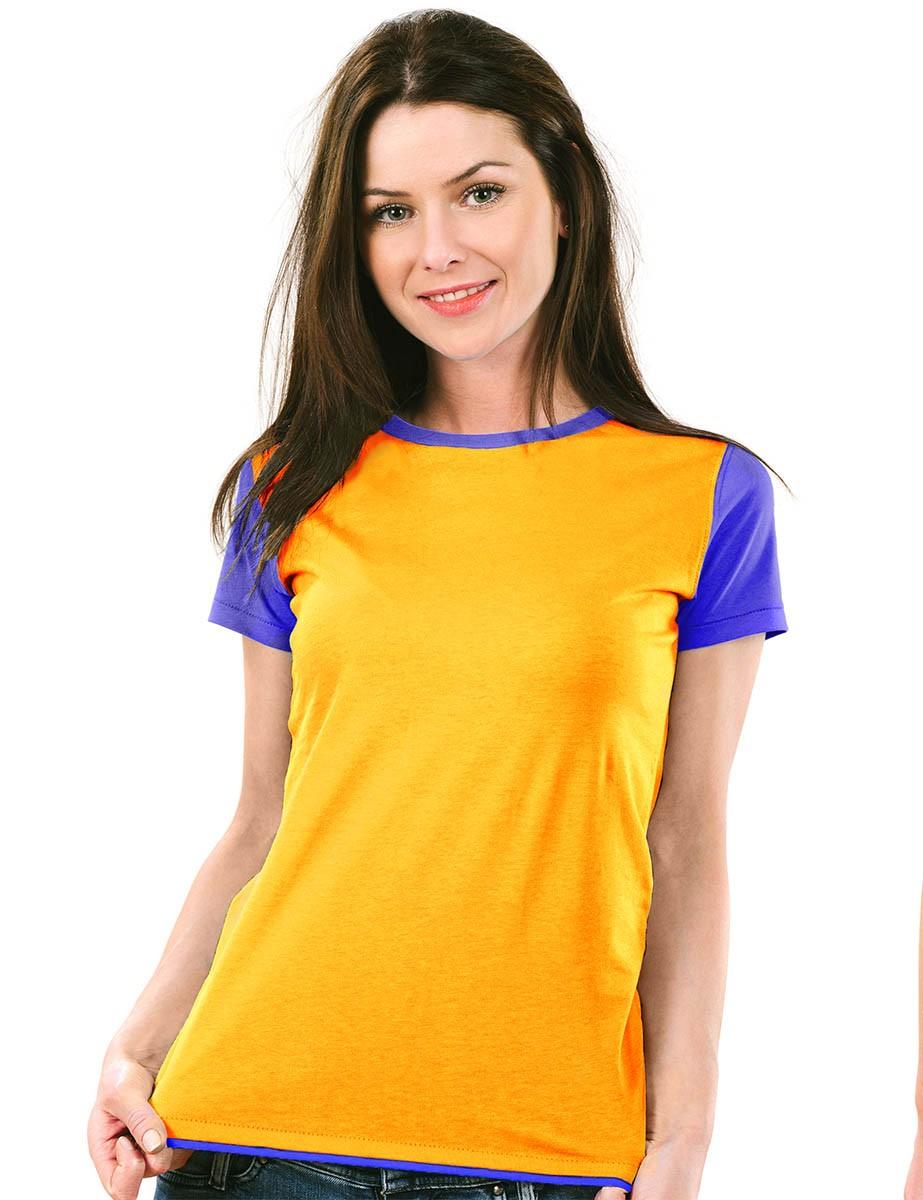 Camiseta Feminina Babylook raglan básica 100% algodão