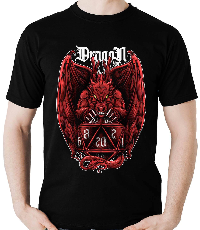 Camiseta Geek Dragão Vermelho Rpg Dado D20 Dragon Store  - Dragon Store