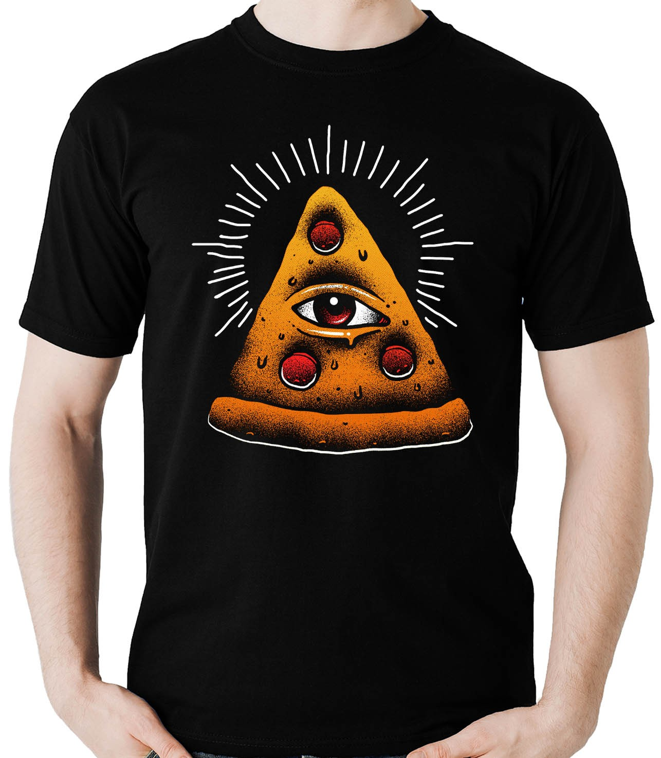 Camiseta Geek Pizza Illuminati Comida Lanche Fast Food Olho - Dragon Store
