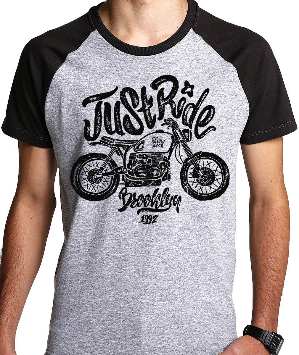 Camiseta Just Ride Moto Motociclista Motoqueiro  - Dragon Store