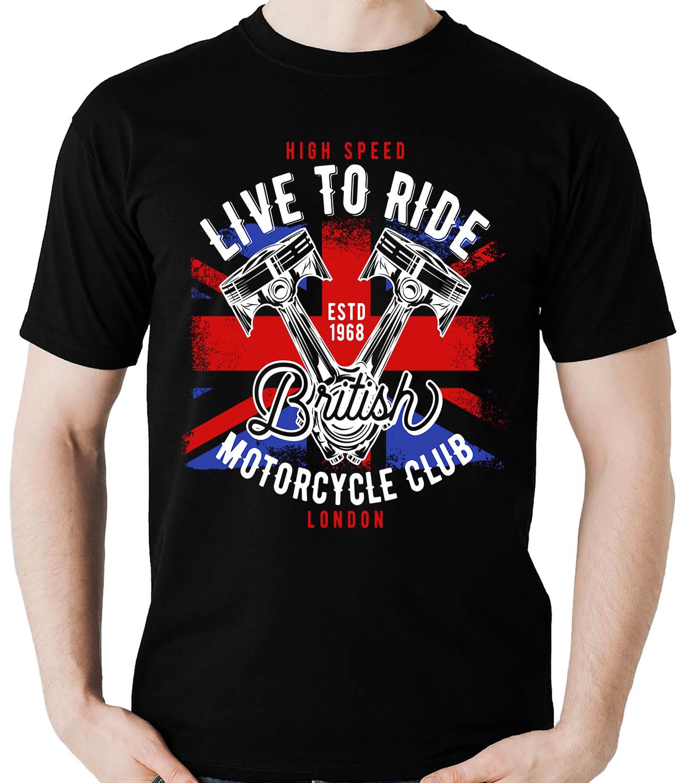 Camiseta Live to ride British - Motociclista Moto