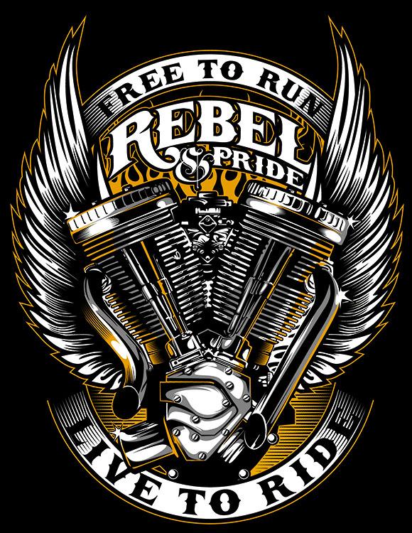 Camiseta Rebel and Pride Motor Motociclista Moto   - Dragon Store