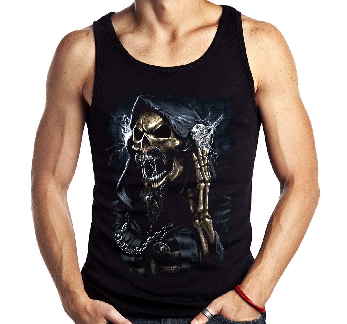 Camiseta Regata Caveira Fone Metaleira Rock Skull Sem Manga