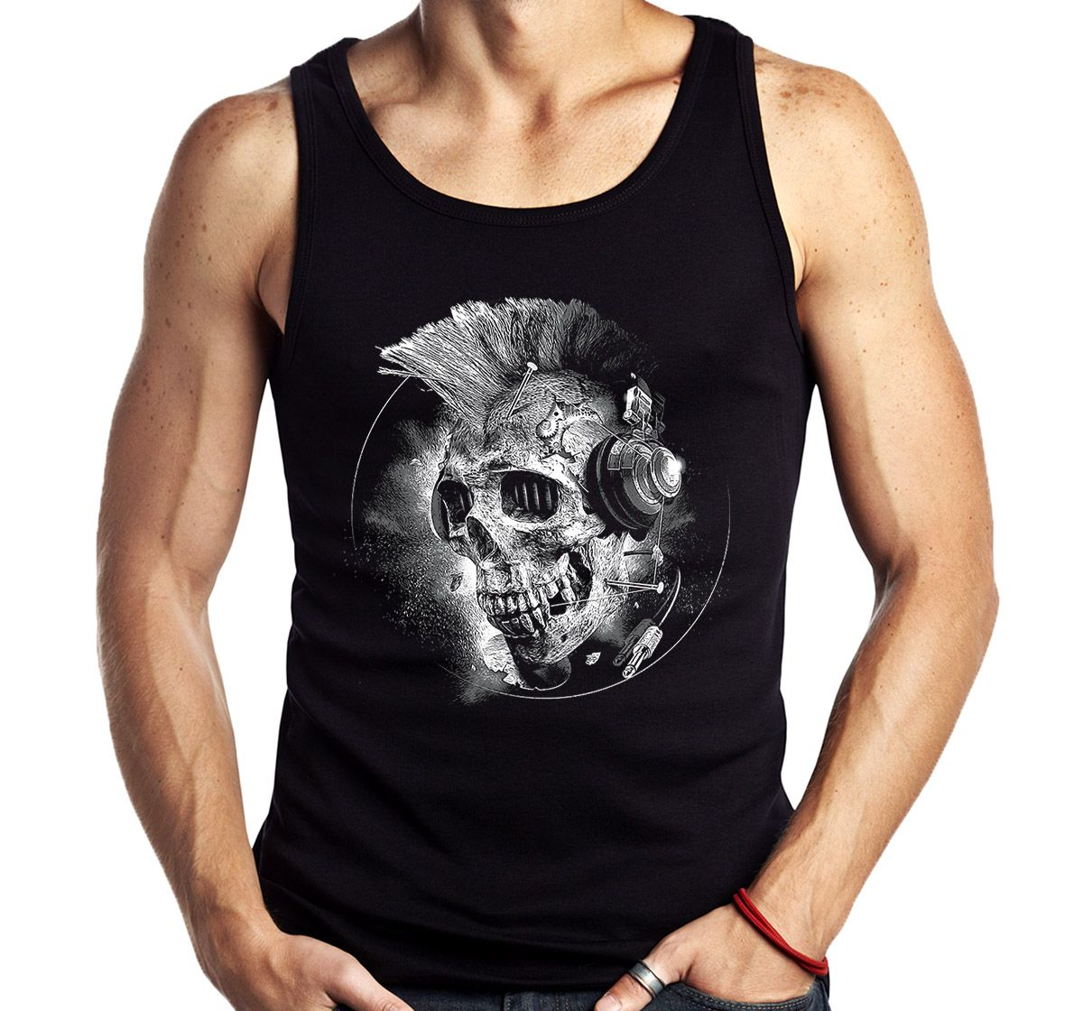 Camiseta Regata Caveira Punk Fone Banda Moto Rock Sem Manga  - Dragon Store