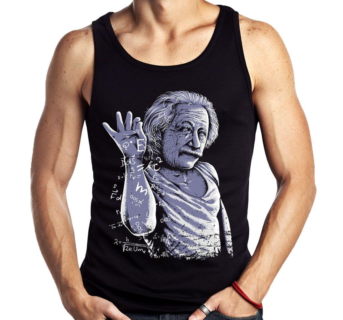 Camiseta Regata Geek Albert Einstein Fisico cientista Sem Manga  - Dragon Store