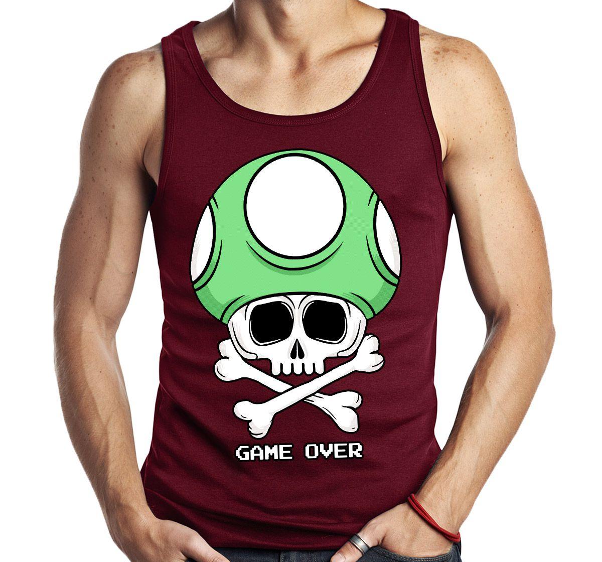 Camiseta Regata Geek Game Over cogumelo Sem Manga  - Dragon Store