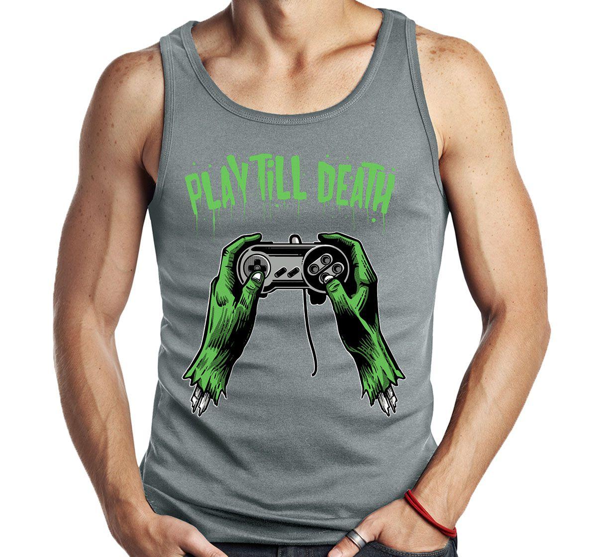 Camiseta Regata Geek Play till Death Video Game   - Dragon Store
