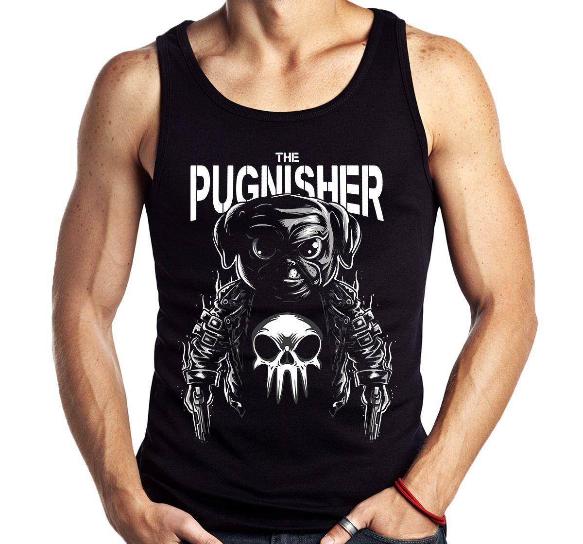 Camiseta Regata Geek Pugnisher Pug justiceiro Parodia   - Dragon Store