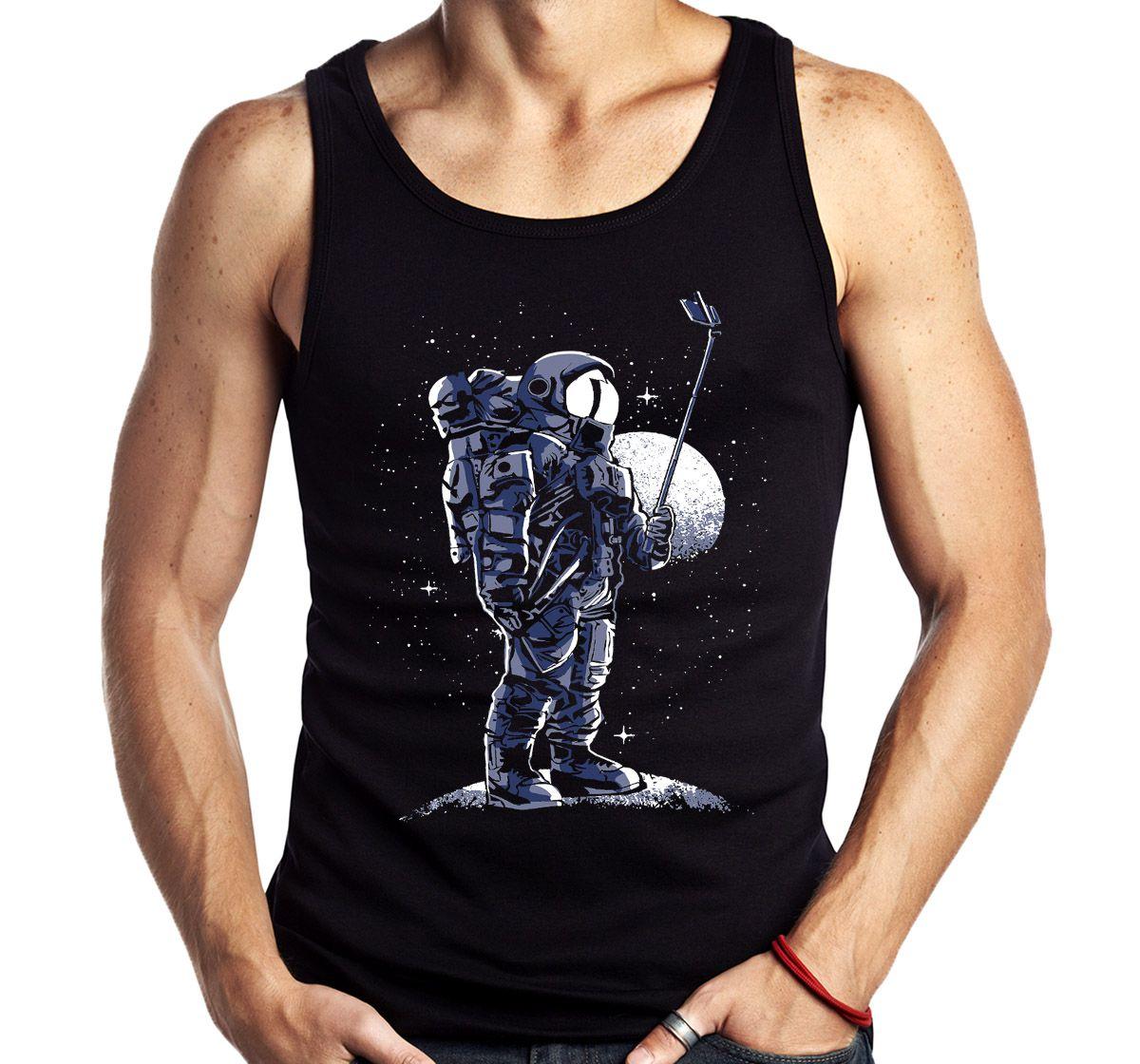 Camiseta Regata Geek Selfie no espaço Astronauta Sem Manga  - Dragon Store