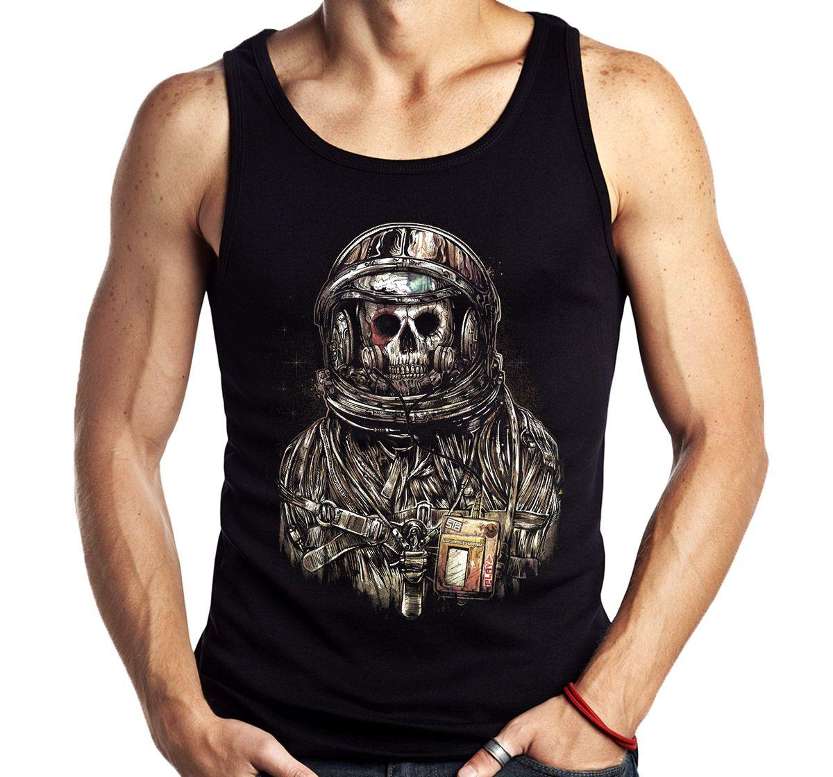 Camiseta Regata Spaceman Astronauta Caveira Banda Rock  - Dragon Store