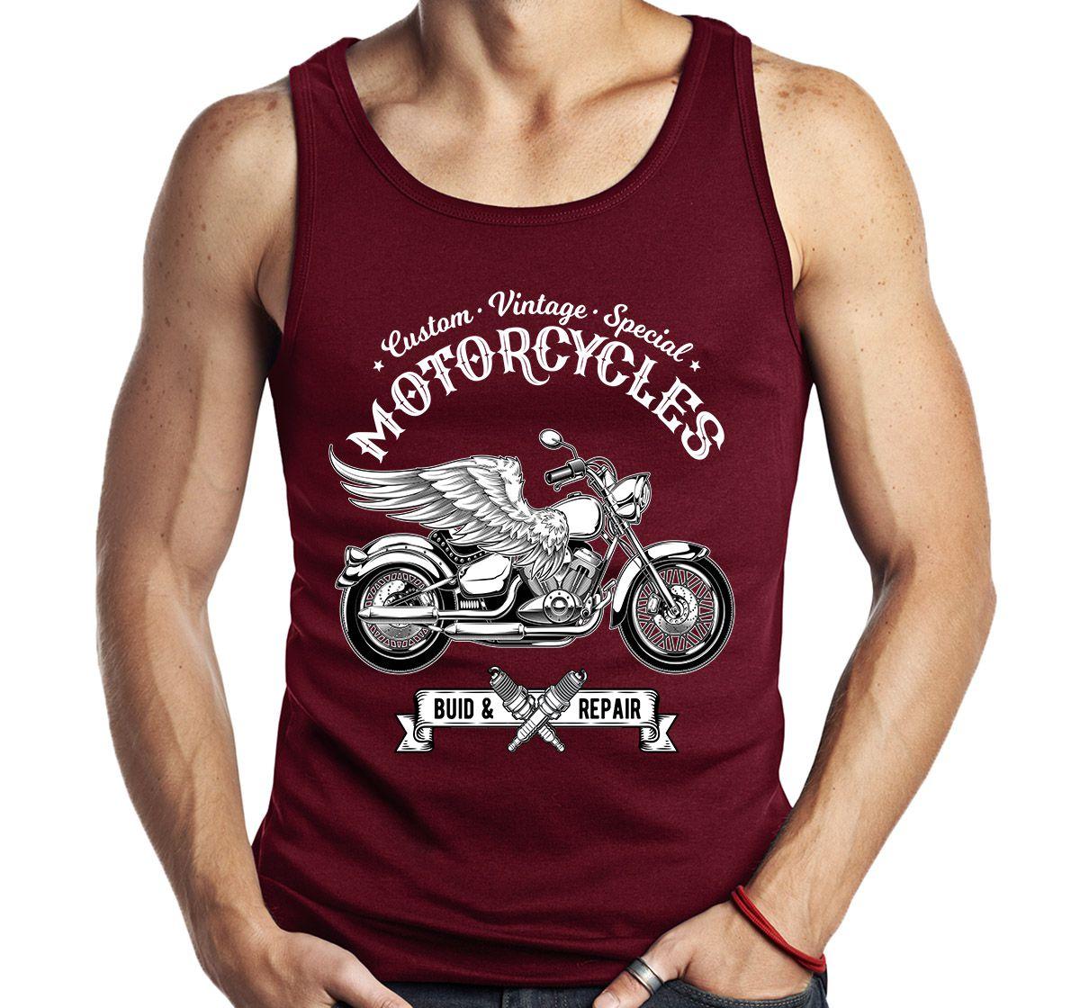 Camiseta Regata Vintage Moto Asas Motocicleta Motociclista  - Dragon Store