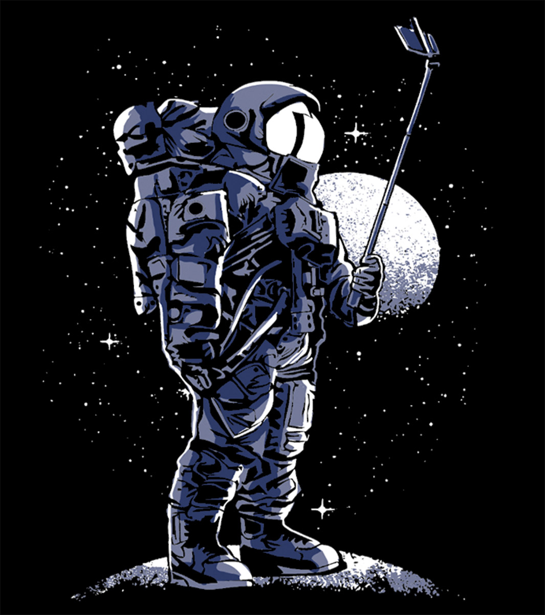 Camiseta Selfie No Espaço Astronauta  - Dragon Store
