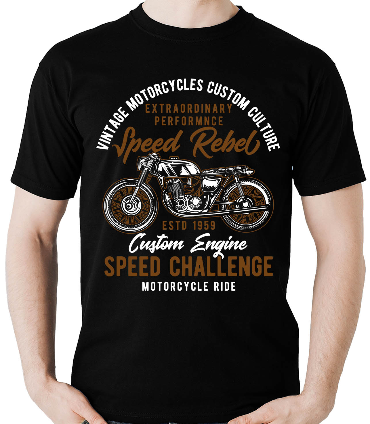 Camiseta Speed Rebel - Vintage  Motociclista Moto  - Dragon Store