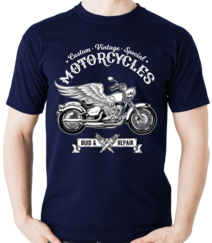 Camiseta Vintage Moto Asas Custom Motocicleta Motociclista