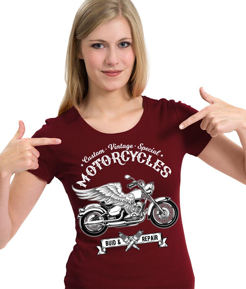 Camiseta Vintage Moto Asas Custom Motocicleta Motociclista  - Dragon Store