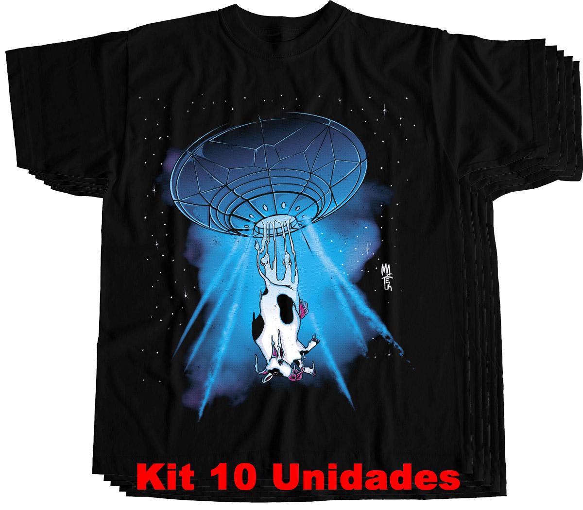 Kit 10 camisetas masculinas atacado abdução alien vaca  - Dragon Store