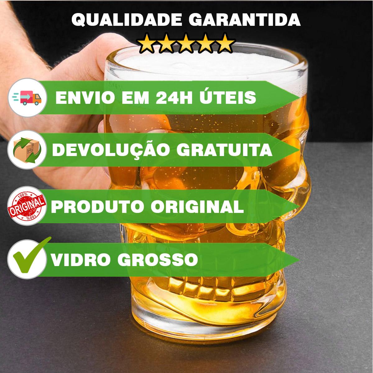 kit 2 Canecas de Chopp Caveira Viking Cerveja - 500ml  - Dragon Store