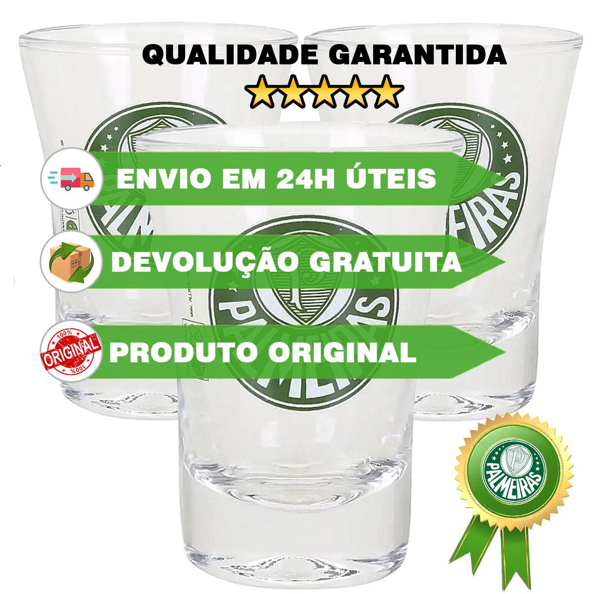 kit 3 Copos dose Palmeiras OFICIAL Time shot Cachaça tequila  - Dragon Store