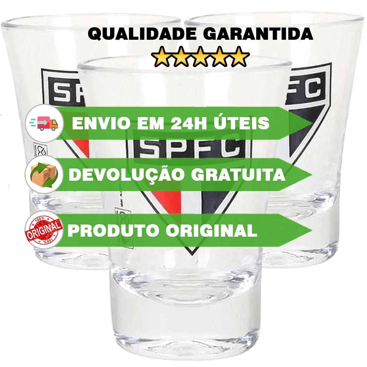 kit 3 Copos dose São Paulo OFICIAL Time shot Cachaça   - Dragon Store