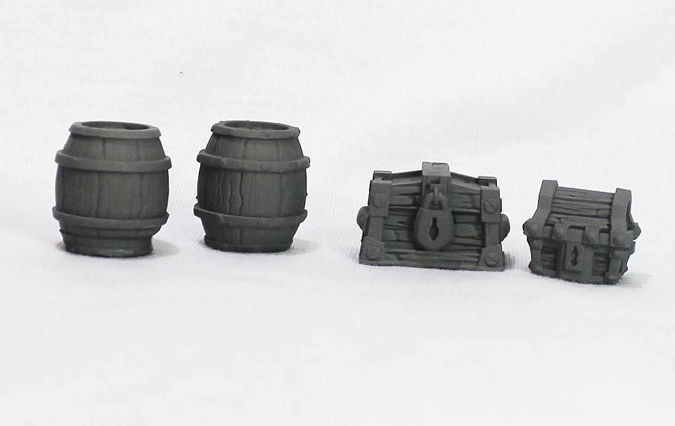 Set cenário baú e barril miniatura RPG Boargame Hobby pintura  - Dragon Store