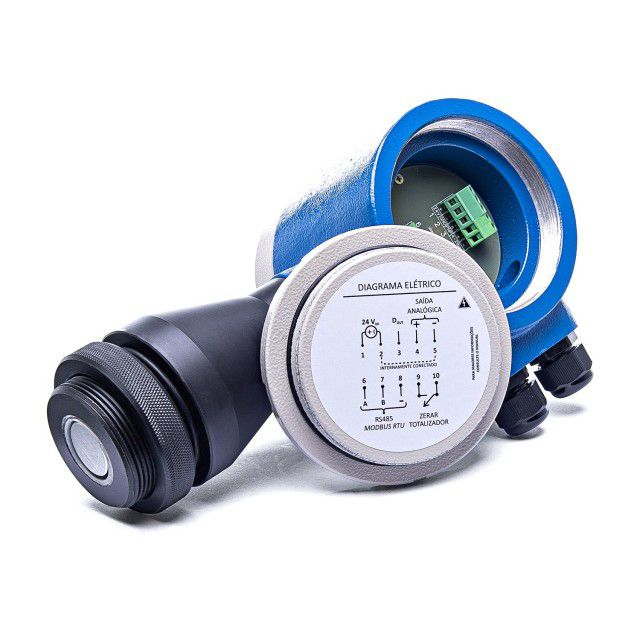 BLIT-UT - Medidor de nível ultrassônico com indicador de volume para tanque/silo/reservatório - IP67
