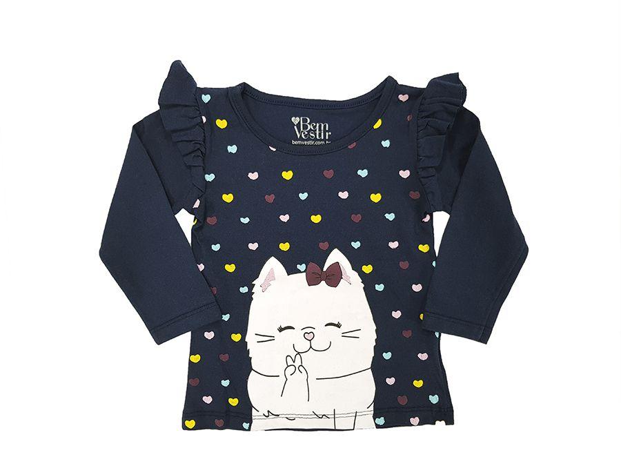 Blusa azul marinho manga longa gatinha  - Primeiros Passos