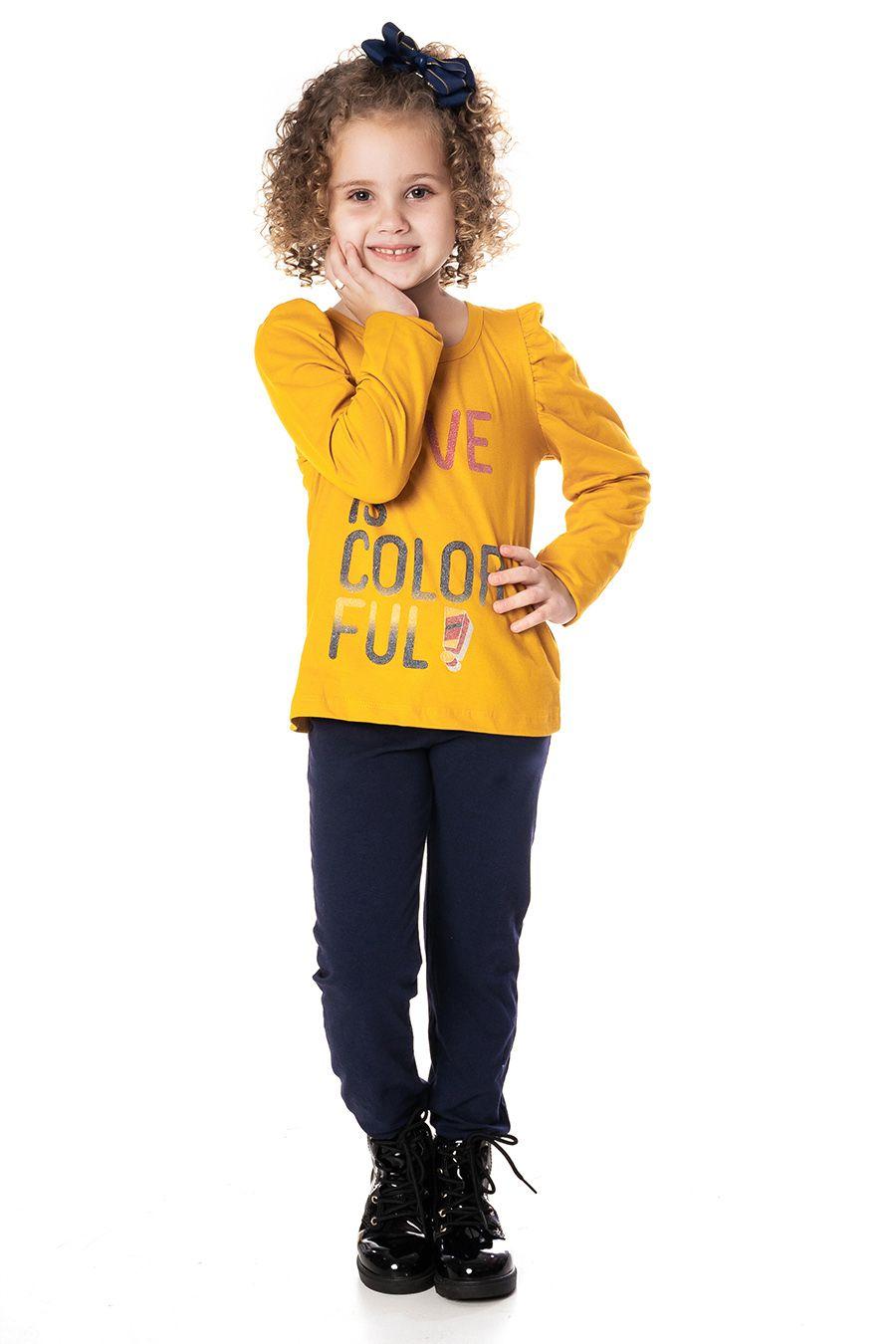 Blusa manga longa franzida com estampa - Infantil