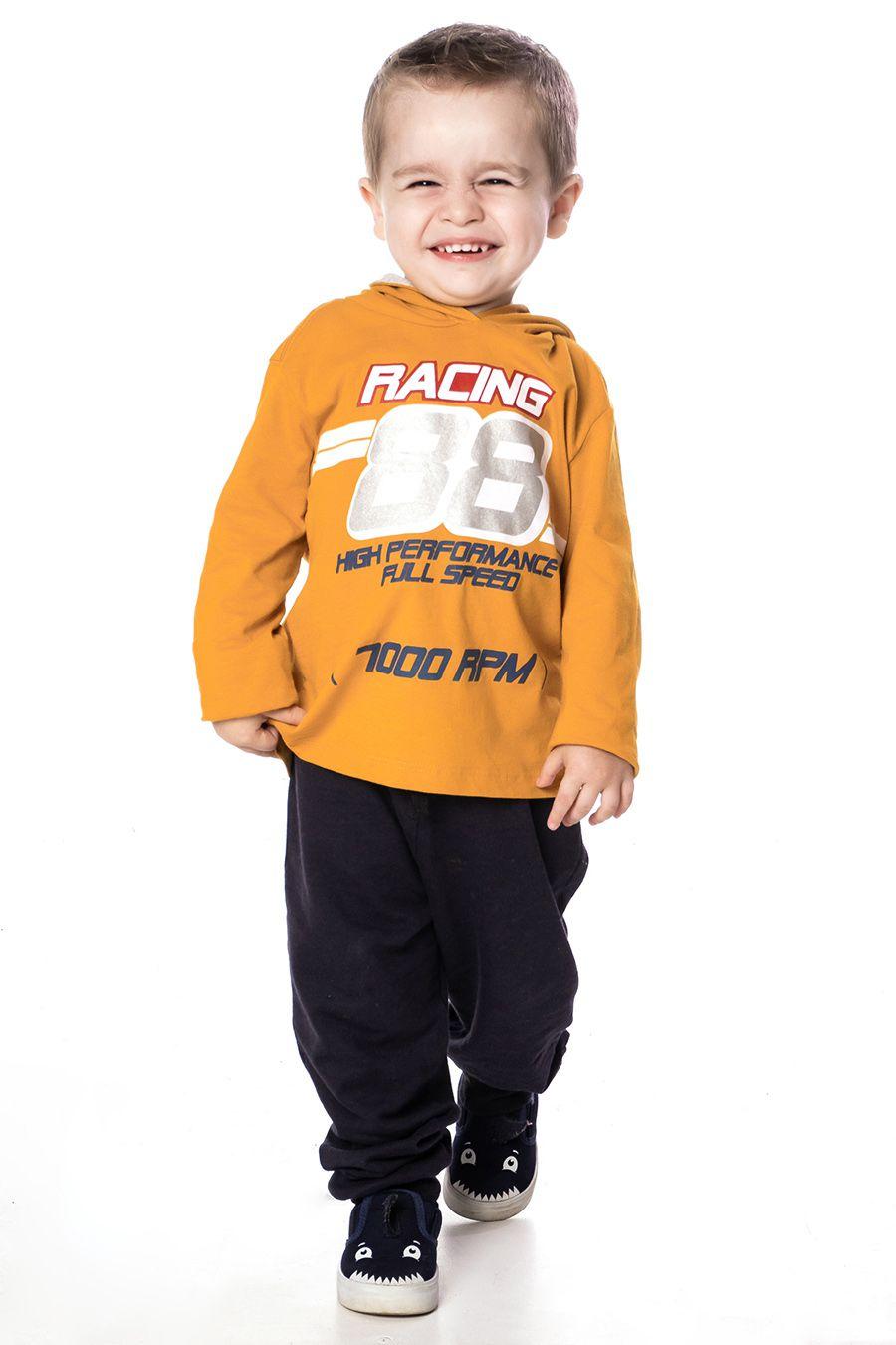 Conjunto, blusa com capuz e estampa frontal e calça Jogger Marinho - Primeiros Passos