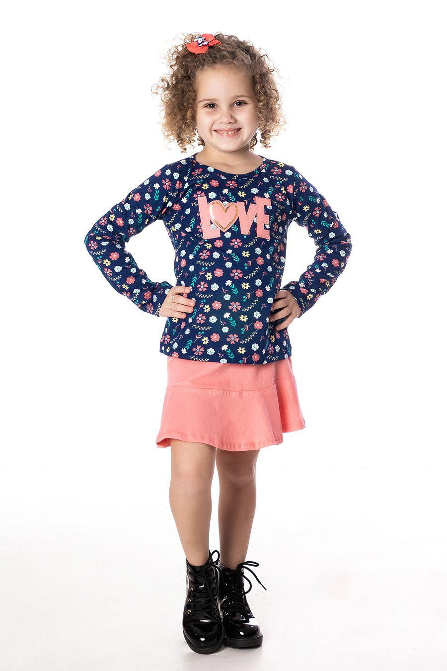 Conjunto Blusa floral, fundo marinho, com bordado e Saia - Infantil