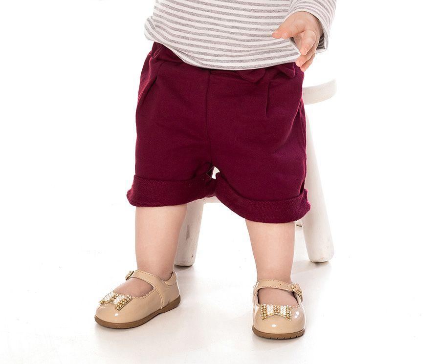 Shorts com prega e barra dobrada - Primeiros Passos