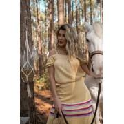 Blusa Bata Feminino Vera Tricot  Ombro a Ombro Com Alcinha Amarela