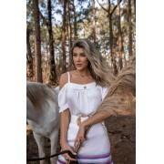 Blusa Bata Feminino Vera Tricot  Ombro a Ombro Com Alcinha Branca