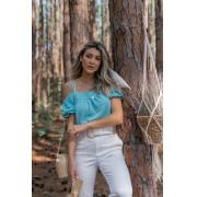 Blusa Bata Feminino Vera Tricot  Ombro a Ombro Com Alcinha Verde Agua