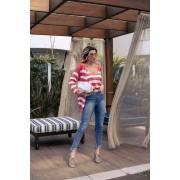 Blusa Calêndula Vera Tricot Regata Listrada Feminino Coral / Branco